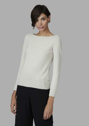 Giorgio Armani Jacquard Sweater With Zigzag Pattern