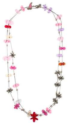 Nina Ricci Flamingo Flower Station Necklace Silver Flamingo Flower Station Necklace