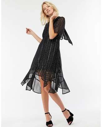 Monsoon Black 'Lilith' Lurex Stripe Hem Dress