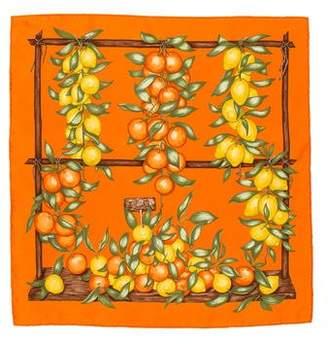 Hermes Oranges et Citrons Silk Pocket Square
