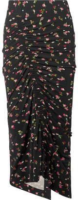 Preen by Thornton Bregazzi Jessica Ruched Floral-print Stretch-crepe Midi Skirt - Black