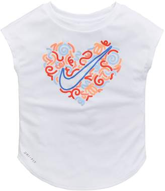 Nike Younger Kids Squiggle Heart Tee - White
