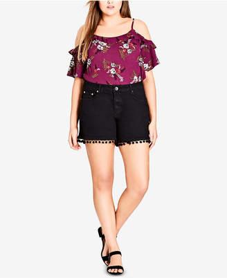 City Chic Trendy Plus Size Pom Pom Denim Shorts