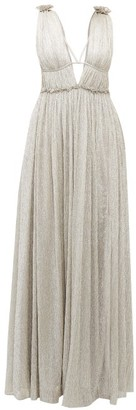Jonathan Simkhai Ruffled Plisse Metallic Dress - Womens - Silver