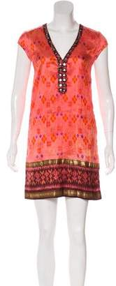 Calypso Patterned Silk Mini Dress