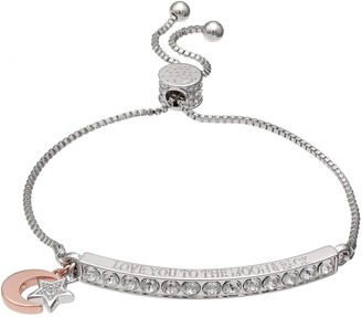 "Brilliance+ Brilliance ""Love You to the Moon & Back"" Bar Bracelet with Swarovski Crystals"
