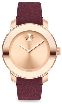 Movado Bold Iconic Metal & Red Suede Watch