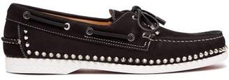 Christian Louboutin Steckel Stud Embellished Nubuck Deck Shoes - Mens - Black