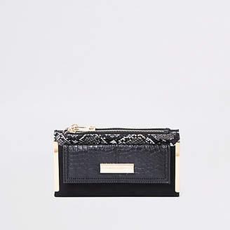 River Island Black snake print front pocket foldout purse