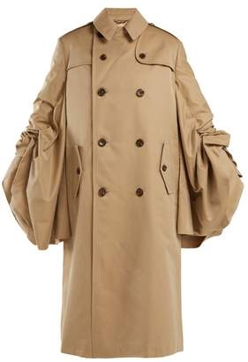 Junya Watanabe - Ruched Sleeve Cotton Gabardine Trench Coat - Womens - Beige