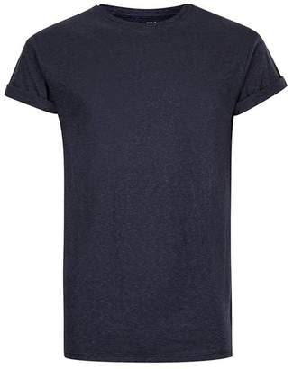 Navy Textured Muscle Fit Roller T-Shirt $20 thestylecure.com