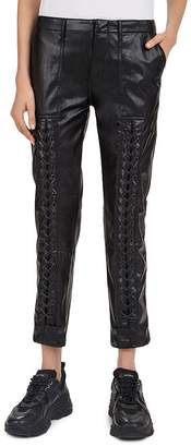 The Kooples Lace-Up Detail Faux-Leather Pants