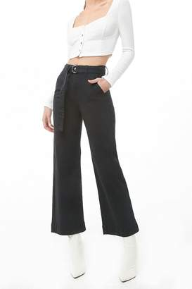 Forever 21 Belted Wide-Leg Jeans