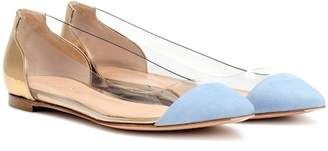 Gianvito Rossi Plexi leather and suede flats