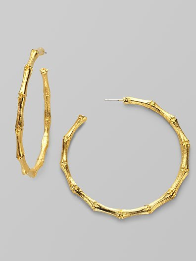Kenneth Jay Lane Bamboo-Textured Hoop Earrings/2¼