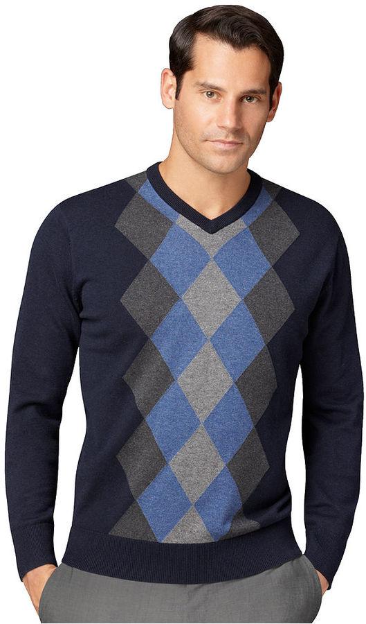 Van Heusen Sweater, Argyle V-Neck Sweater