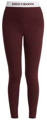 Paco Rabanne Logo Jacquard Performance Leggings - Womens - Burgundy