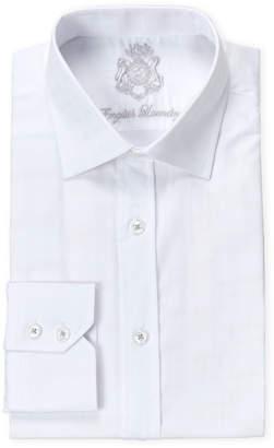 English Laundry White Tonal Plaid Cotton Dress Shirt