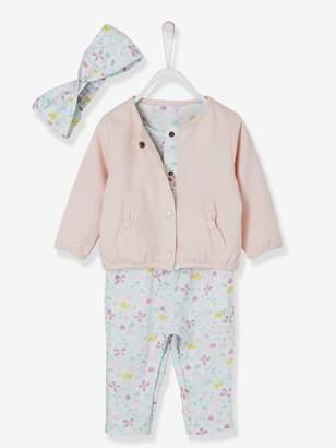 Vertbaudet Baby Girls' Jumpsuit + Jacket + Headband Outfit