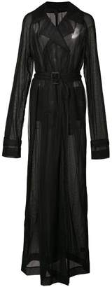 Vera Wang sheer maxi trench coat