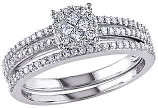 Affinity Diamond Jewelry Round Cluster Diamond Ring Set, 14K White Gold,