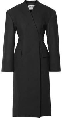 Awake Belted Wool-blend Coat - Black