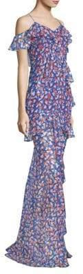 AMUR Remi Floral Print Chiffon Gown