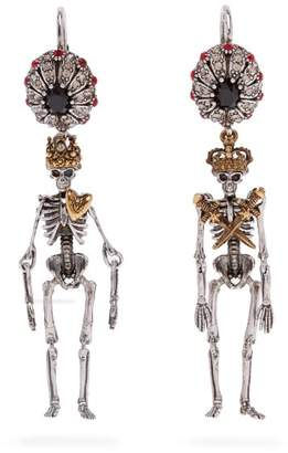 Alexander McQueen Queen And King Skeleton Earrings - Womens - Gold