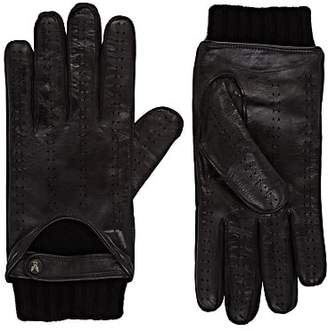 Christophe Fenwick Men's Le Mans Cashmere-Lined Leather Driving Gloves - Black
