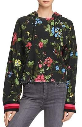 Pam & Gela Floral Cropped Hooded Sweatshirt