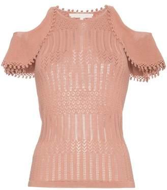 Jonathan Simkhai Crochet cotton top with cold shoulders