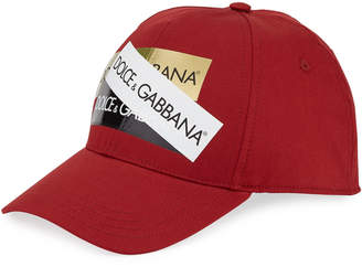 Dolce & Gabbana Men's Baseball Cap with Shiny Logo Tape