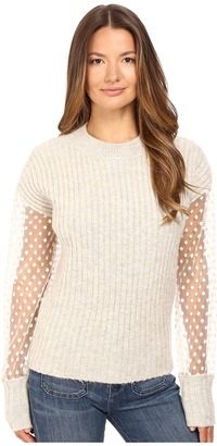 See by Chloe - Knit Pullover with Sheer Sleeves  Women's Long Sleeve Pullover $430 thestylecure.com
