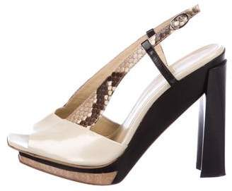 CNC Costume National Snakeskin-Trimmed Leather Pumps