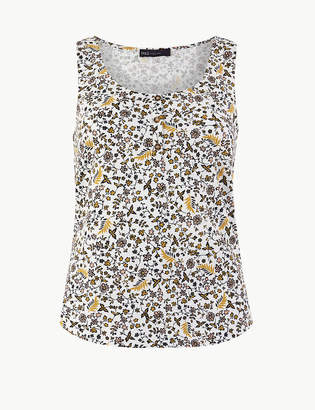 Marks and Spencer Pure Cotton Floral Relaxed Fit Vest Top