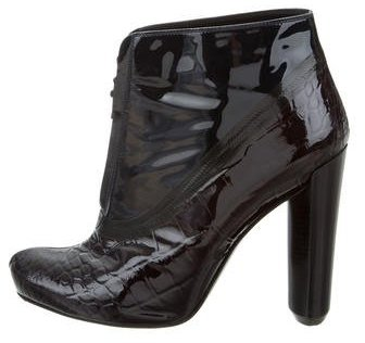 Louis Vuitton Embossed Patent Leather Booties
