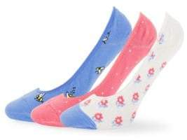 Kate Spade Three-Pack Printed Liner Socks