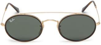 Ray-Ban 'RB3847' double bridge metal oval sunglasses