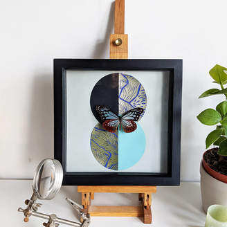 Mariposa London Framed Glassy Tiger Butterfly On Lino Print Collage