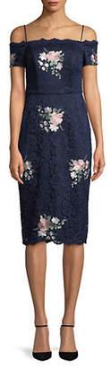 Nicole Miller NEW YORK Floral Embroidered Lace Cold-Shoulder Dress