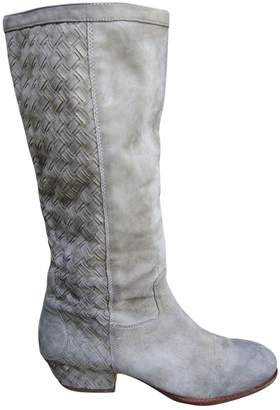 Ash Suede Boots With Braiding