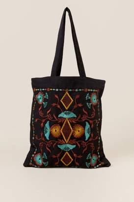 francesca's Mesa Embroidered Canvas Tote in Black - Black