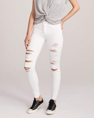Abercrombie & Fitch Ripped Low Rise Super Skinny Jeans