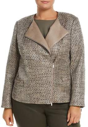 Lafayette 148 New York Plus Trista Suede-Trimmed Metallic Tweed Jacket