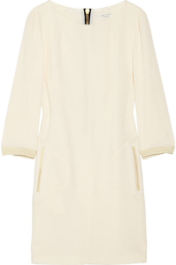 Rag & bone Harlow leather-trimmed crepe dress