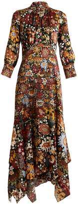 Peter Pilotto Asymmetric-hem floral-print silk dress