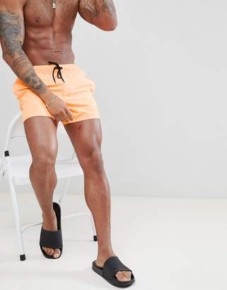 Asos DESIGN Swim Shorts In Neon Orange In Short Length