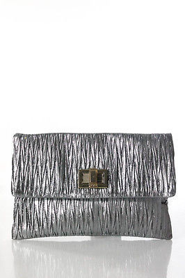 Anya Hindmarch Anya Hindmarch Gray Metallic Textured Gold Tone Turn Lock Clutch