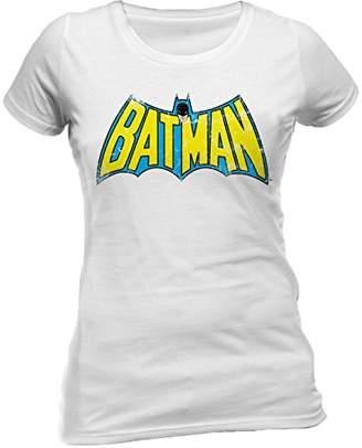 DC Women's Batman Retro Logo Crew Neck Short Sleeve T-Shirt,(Manufacturer Size:Large)