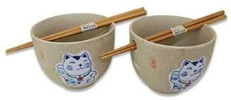 JuJu Smiling Set of 2] Japanese Porcelain Ceramic Bowls w Chopsticks Ramen Soup Noodle Porridge Menudo Ramen Udon Pasta Cereal Ice cream Pho Rice Instant Noodle -D